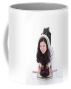 Asian Woman Posing For A Portrait Lying Coffee Mug