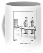 Assembly Line Worker Trying On 'groucho Marx' Coffee Mug