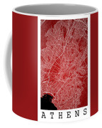 Athens Street Map - Athens Greece Road Map Art On Color Coffee Mug
