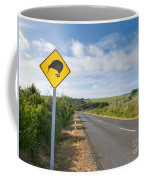Attention Kiwi Crossing Roadsign At Nz Rural Road Coffee Mug