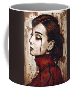 Audrey Hepburn - Quiet Sadness Coffee Mug by Olga Shvartsur