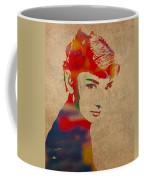 Audrey Hepburn Watercolor Portrait On Worn Distressed Canvas Coffee Mug