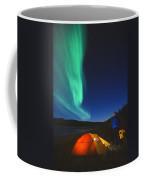 Aurora Borealis Above A Tent And Camper Coffee Mug