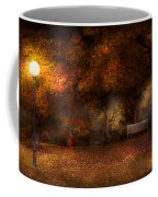 Autumn - A Park Bench Coffee Mug by Mike Savad