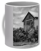 Autumn Barn - Upclose Cropped - Black And White Coffee Mug