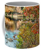 Autumn Lake And Swan Coffee Mug