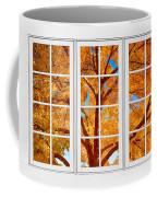 Autumn Maple Tree View Through A White Picture Window Frame Coffee Mug
