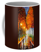 Autumn Park Night Lights Palette Knife Coffee Mug by Georgeta  Blanaru