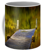 Autumn Reflections And Boat Dock On A Pond Near Yankee Springs Michigan Coffee Mug