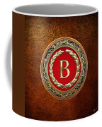 B - Gold Vintage Monogram On Brown Leather Coffee Mug