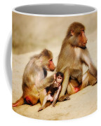 Baboon Family In The Desert Coffee Mug