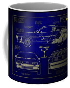 Back To The Future Delorean Blueprint 2 Coffee Mug