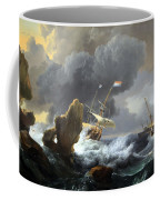 Backhuysen's Ships In Distress Off A Rocky Coast Coffee Mug