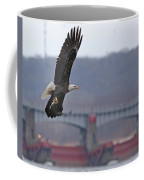 Bald Eagle Leaves With Fish At Lock And Dam 14 Coffee Mug