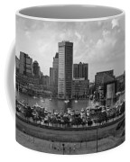 Baltimore Harbor Skyline Panorama Bw Coffee Mug