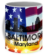 Baltimore Md Patriotic Large Cityscape Coffee Mug