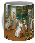 Barbers Shop With Monkeys And Cats Oil On Copper Coffee Mug