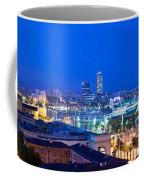 Barcelona And Its Skyline At Night Coffee Mug