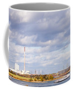 Barges On River Rhine At Duisburg Germany Europe Coffee Mug