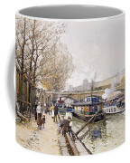 Barges On The Seine Coffee Mug by Eugene Galien-Laloue