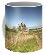 Barn In A Field With Hay Bales Coffee Mug