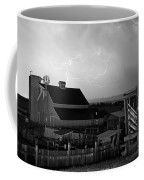 Barn On The Farm And Lightning Thunderstorm Bw Coffee Mug by James BO  Insogna
