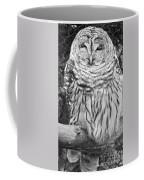 Barred Owl In Black And White Coffee Mug