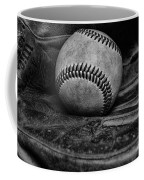 Baseball Broken In Black And White Coffee Mug by Paul Ward