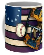Baseball Catchers Mask Vintage On American Flag Coffee Mug