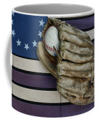Baseball Mitt On American Flag Folk Art Coffee Mug