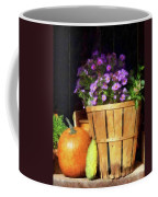 Basket Of Asters With Pumpkin And Gourd Coffee Mug