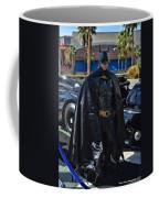 Batmobile And Batman Coffee Mug by Tommy Anderson