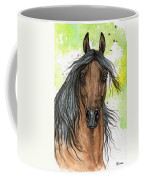 Bay Arabian Horse Watercolor Painting  Coffee Mug