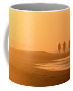 Beach Landscape Silhouetted Sunrise Walkers Nc Coffee Mug
