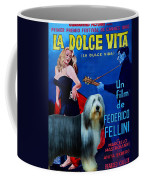 Bearded Collie Art Canvas Print - La Dolce Vita Movie Poster Coffee Mug
