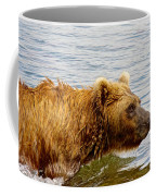 Bear's Eye View Of Swimming Grizzly In Moraine River In Katmai Coffee Mug