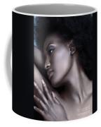 Beautiful Black Woman Face With Shiny Silver Skin Coffee Mug