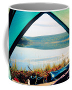 Beautiful View Of Calm Lake Looking Out Of Tent Coffee Mug
