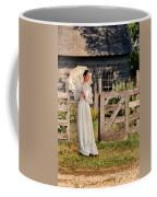 Beautiful Woman In White Dress With Parasol Coffee Mug