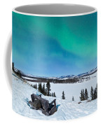 Bench Looking On Lake Laberge With Northern Lights Coffee Mug