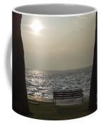 Bench On A Foggy Lake Front Coffee Mug