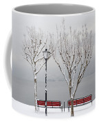 Bench On Lakefront In Winter Coffee Mug