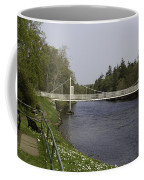 Benches And Suspension Bridge Over River Ness Coffee Mug