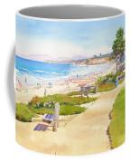 Benches At Powerhouse Beach Del Mar Coffee Mug by Mary Helmreich