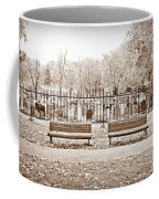 Benches By The Cemetery In Sepia Coffee Mug