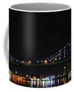 Benjamin Franklin Bridge At Night Panarama Coffee Mug