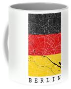 Berlin Street Map - Berlin Germany Road Map Art On German Flag Background Coffee Mug