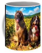 Bernese Mountain Dog And Leonberger Among Wildflowers Coffee Mug