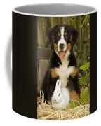 Bernese Mountain Puppy And Rabbit Coffee Mug