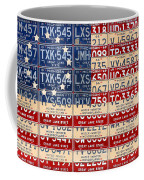 Betsy Ross American Flag Michigan License Plate Recycled Art On Red Board Coffee Mug